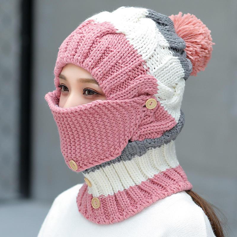 Women Winter Windproof Warm Plus Velvet Knit Hat Scarf Set with Face Mask Thicken Ski Earmuffs Cap
