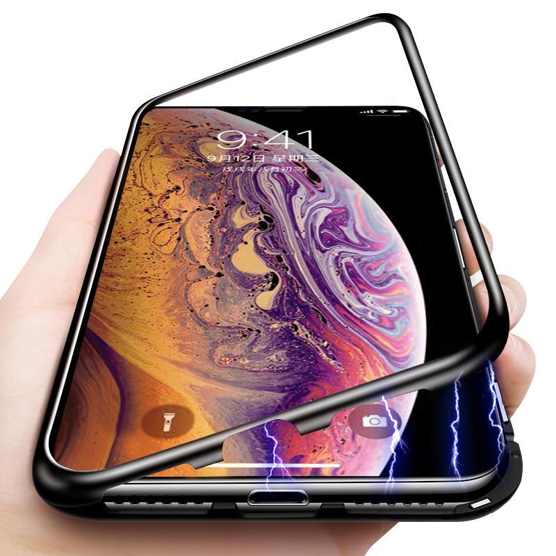 Bakeey Beskyttelsesveske til iPhone XS Magnetisk Adsorbsjonsmetallstøtfanger + 9H Temperert Glass Bakdeksel