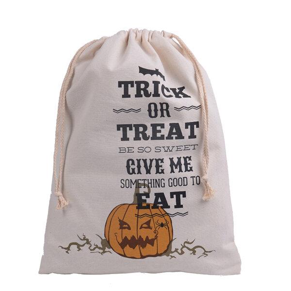 Halloween Bag Canvas Party Halloween Sacks Drawstring Candy Gifts Bag