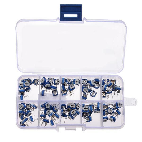 100pcs RM065 Horizontal Trimpot Potentiometer Assortment Kit With Storage Box