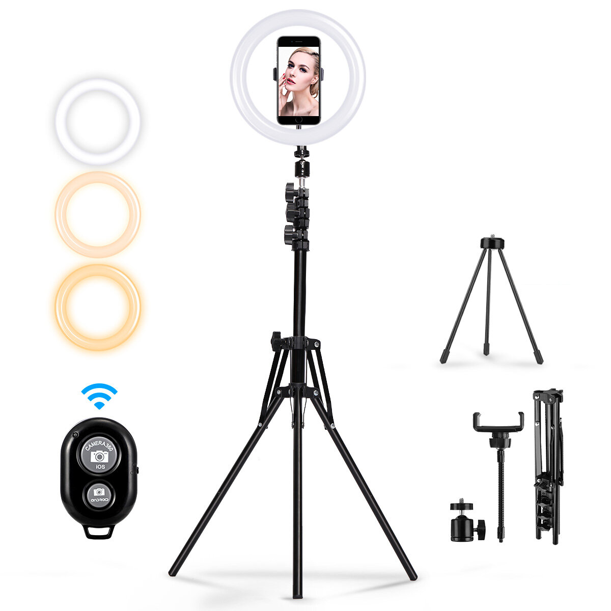 MOHOO 160cm 10 inch 3 Color Modes 10 Brightness Levels USB Video Light Tripod Stand for Tik Tok Youtube Live Streaming  - buy with discount