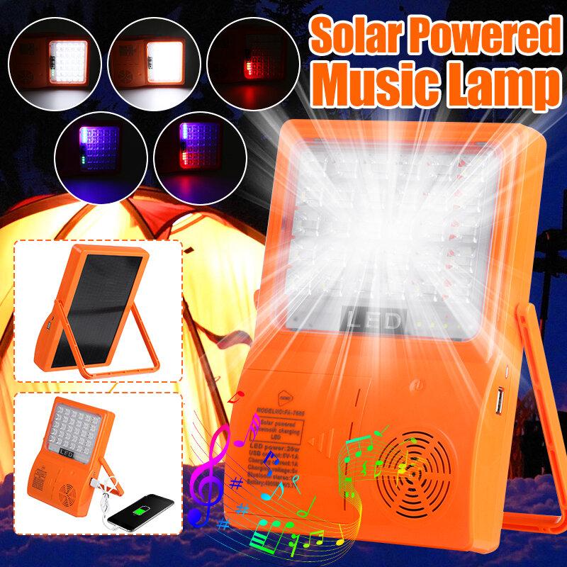 تعمل بالطاقة الشمسية بلوتوث موسيقى LED خيمة مصباح في الهواء الطلق USB المحمولة التخييم الطوارئ ضوء