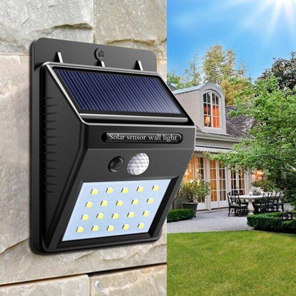 Solar Power 20 LED PIR Motion Sensor Wall Light Waterproof  Outdoor Path Yard Garden Security Lamp