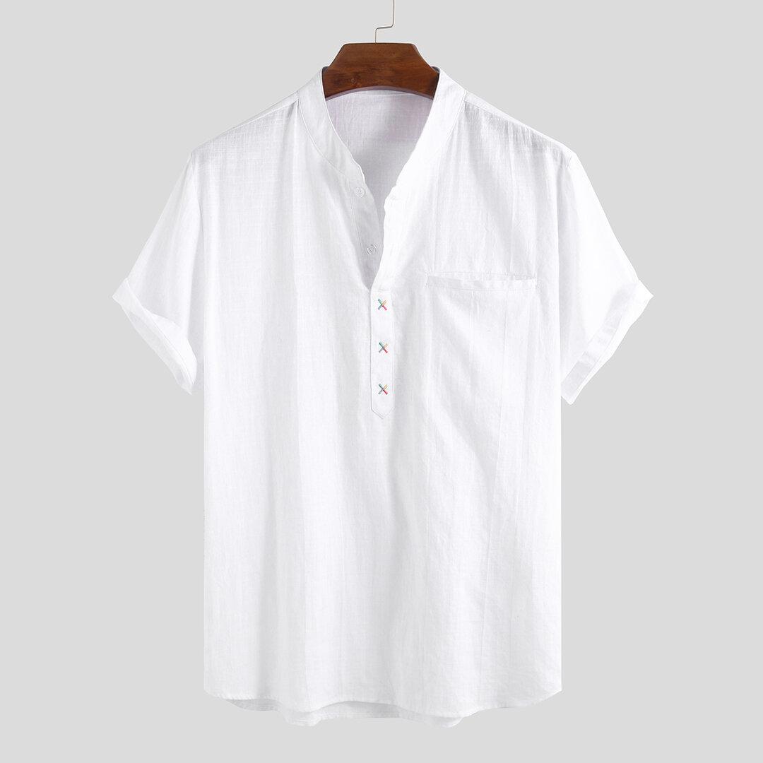 Hombres 100% algodón Collar de pie Fresco Casual Llanura suelta de manga corta Camisetas