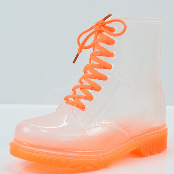Transparent Women Martin Boots Print Jelly Boots Shoes Women Clear Rain Boots Shiny Lace-up Flower Pattern Lady BootsDescription :Getting completely wet on rainy days is so annoying. Transparent candy color rain boots will not only protect your feet from wet weather and muddy earth but theyll also match most of your outfits showing your unique taste. They feature great waterproof property, bright color, fashionable design while their good material and excellent workmanship guarantee high quality. A perfect option for young girls, ladies and others.Features :-High-quality PVC material and excellent workmanship, no leakage-Non-slip sole design, protect you from slipping while walking on smooth ground- You can easily tuck jeans into the boots with adjustable lace-up design- Match most kinds of dressing style, both classical and casualSpecification :MaterialPVCColorAs the picture showsSole length35: 23cm36: 23.5cm37: 24cm38: 24.5cm39: 25cm40: 25.5cmPackage Includes :1XTransparent Martin BootsDetails Pictures :