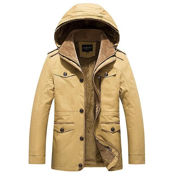 on sale 7ffc4 d67ef Plus Size S-4XL Mens Winter Thick Velvet Lining Warm Parka Coat Detachable  Hood Cotton Jacket