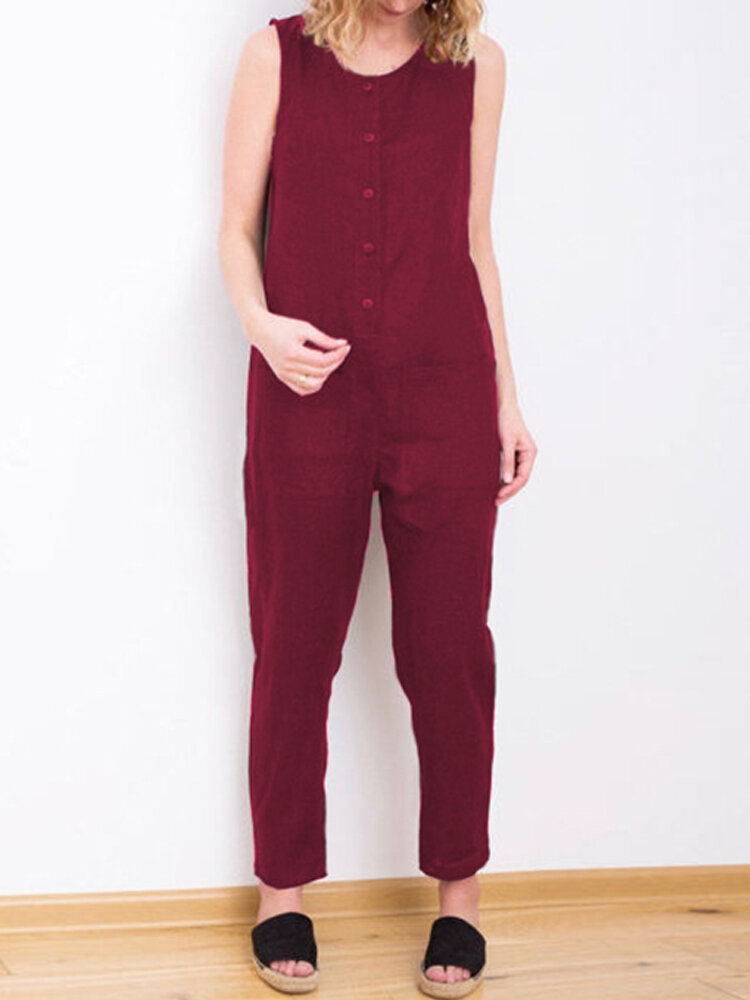 Women Sleeveless Solid Color Loose Casual Jumpsuit