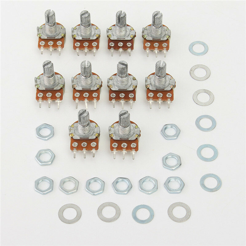 10Pcs WH148 B100K Linear Potentiometer 15mm Shaft With Nuts And Washers Hot