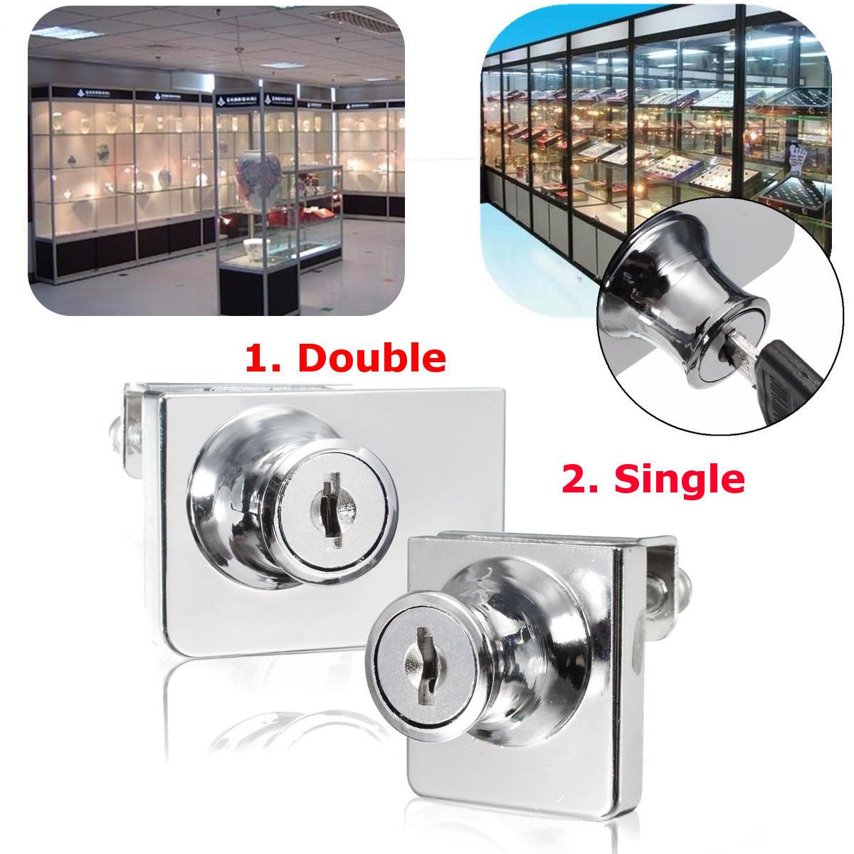 Single/Double Glass Cabinet Door Lock Cam Key Showcase Display Locking with 2 Keys
