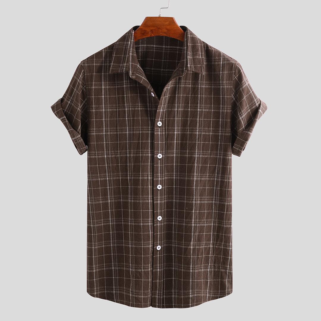 Mens Vintage-rutig kortärmad knäppas upp plaidskjortor