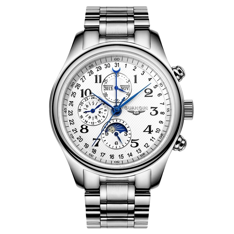 GUANQIN GQ20022 Moon Phase Calendar Automatic Mechanical Watch Stainless Steel Men Watch
