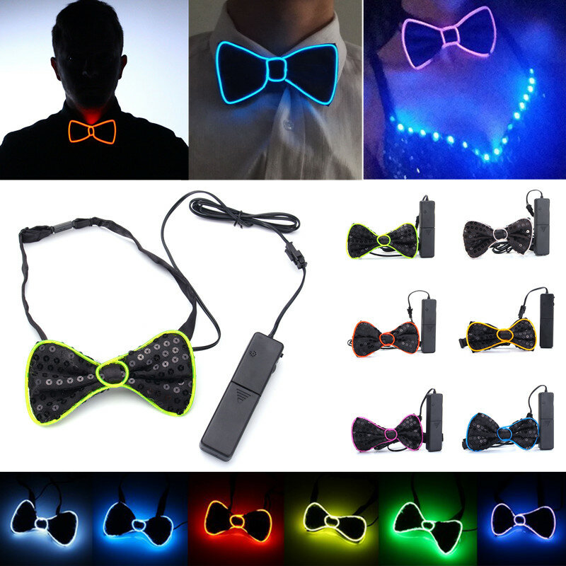 Battery Powered LED Light Up EL Mens Bow Tie Necktie for Halloween Wedding Party DC3V