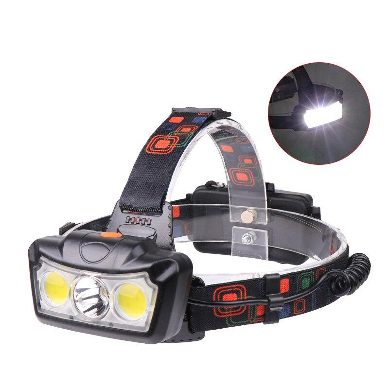 XANES® 1300LM T6 + 2xCOB LED HeadLamp Waterproof 4 modalità Outdoor Running campeggio Hiking Cycling Light 2x18650 DC Interfaccia ricaricabile