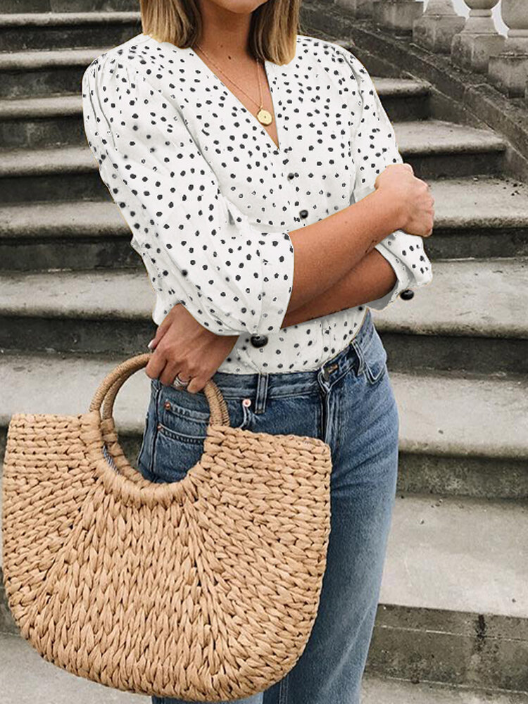 Women Casual Polka Dot Print V-neck Button 3/4 Sleeve Blouse фото