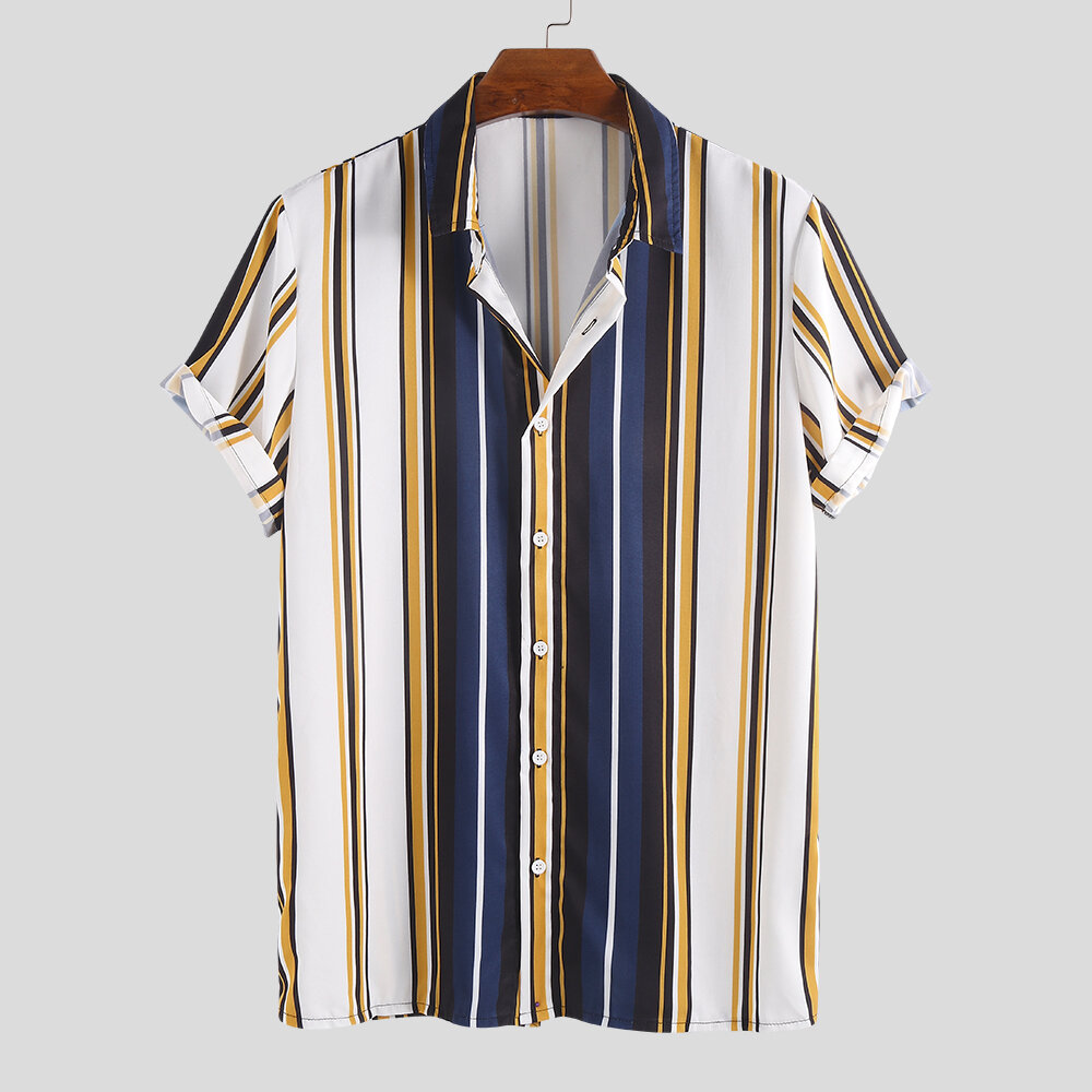 Mens Fashion Colorful Stripe Down Down Collar Casual Sommarskjortor