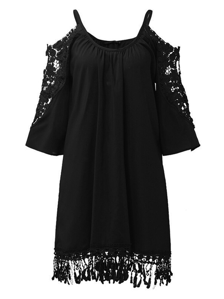 Mulheres Off Shoulder Lace Strap Hollow Half Sleeve Casual Mini Vestires