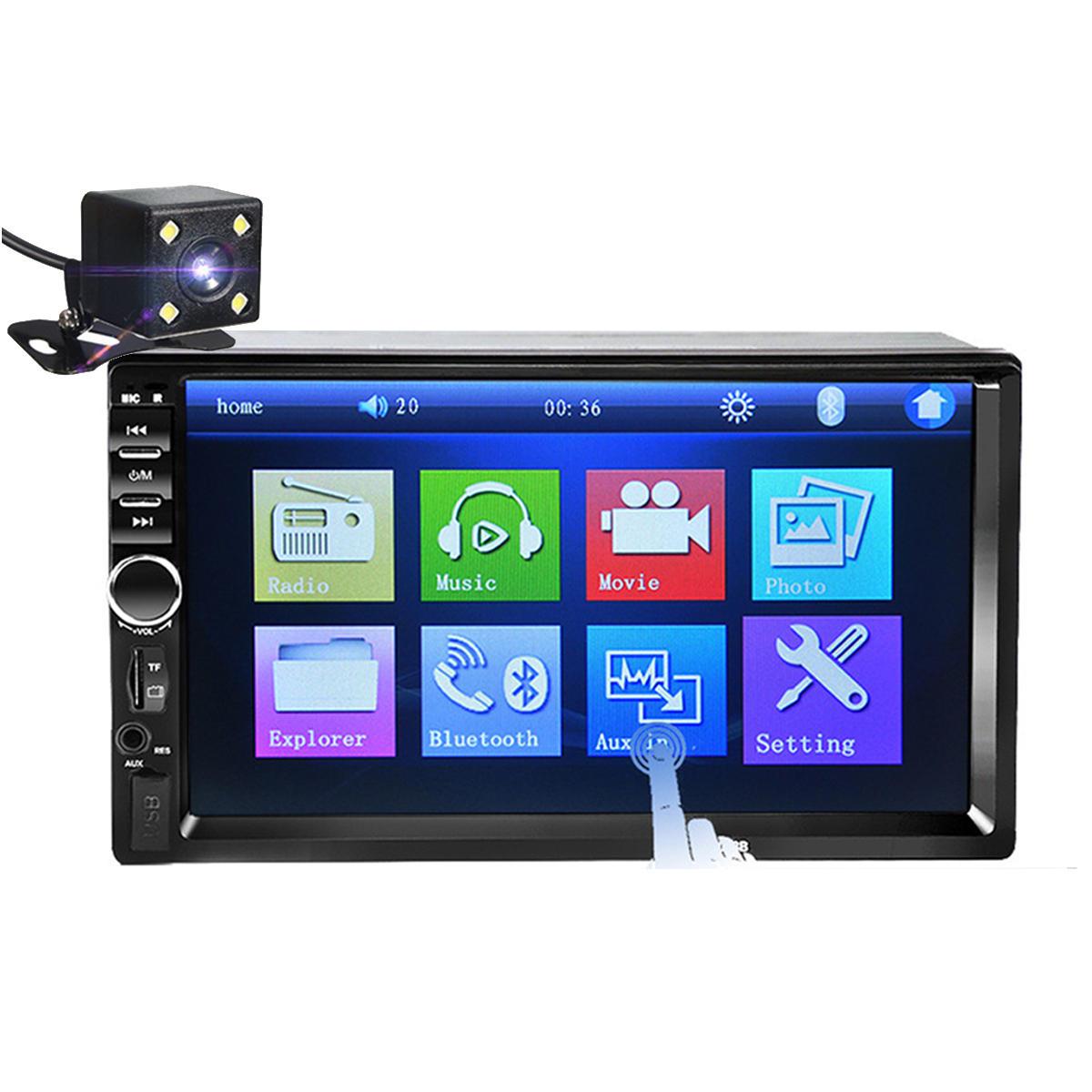 7018B 7Inch Xe 2Din MP5 Player HD Màn hình cảm ứng Âm thanh nổi MP3 MP3 USB bluetooth với Camera dự phòng