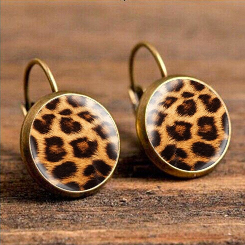 Retro Leopard Print Earrings Time Gem Ear Drop Earring Ethnic Jewelry For Women