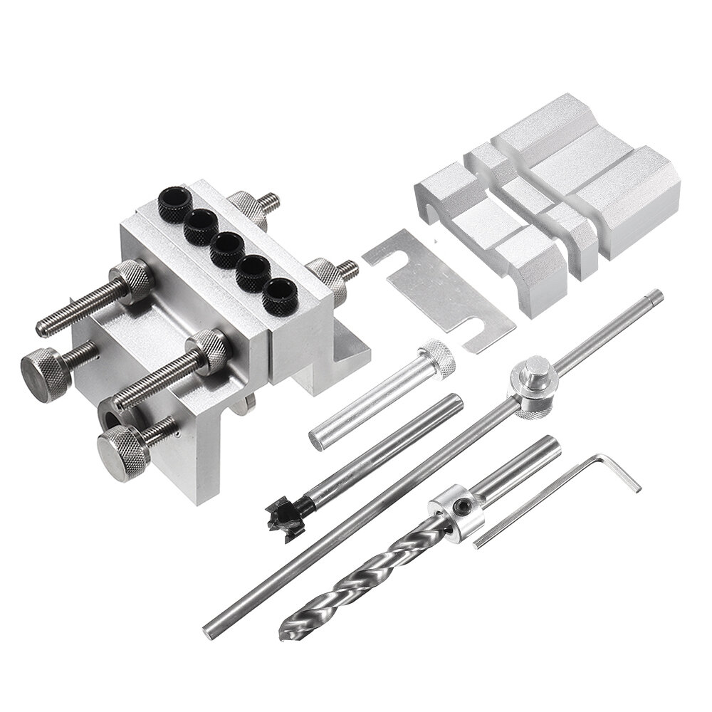 3 In 1 Aluminum Alloy 3/8 Inch Self Centering Doweling Jig 19-100mm Clamping Punch Locator Drill Guide Woodworking Joint, Drillpro  - buy with discount