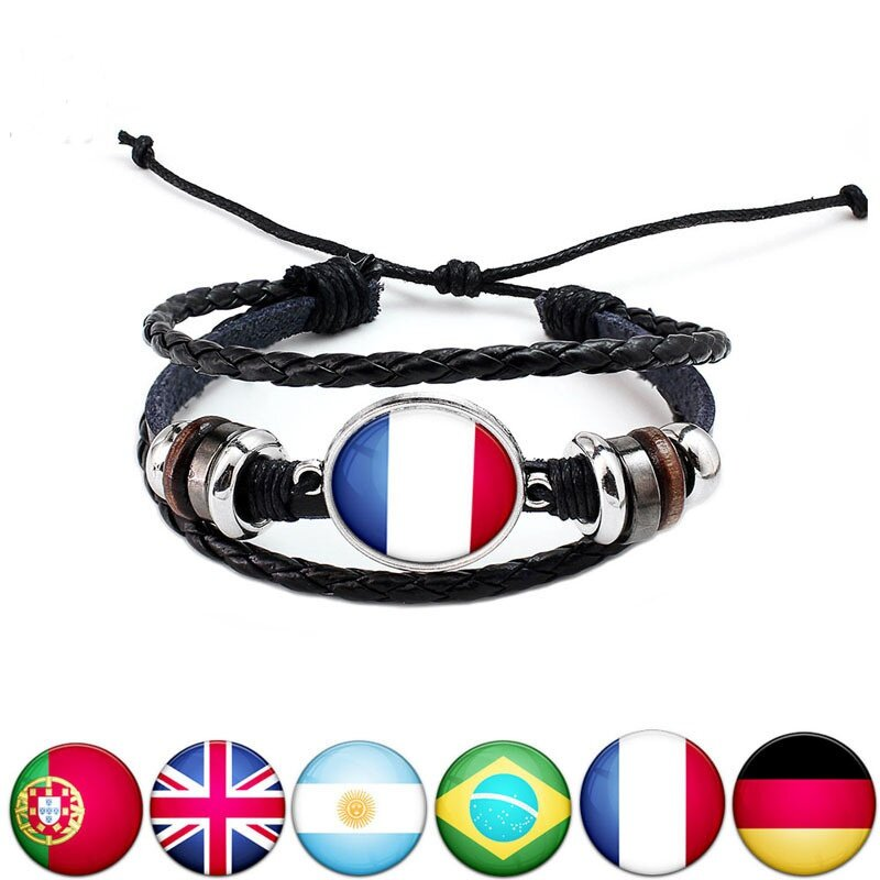 Unisex National Flag Pattern Bracelet Alloy Leather Rope Bracelet for Men Women фото