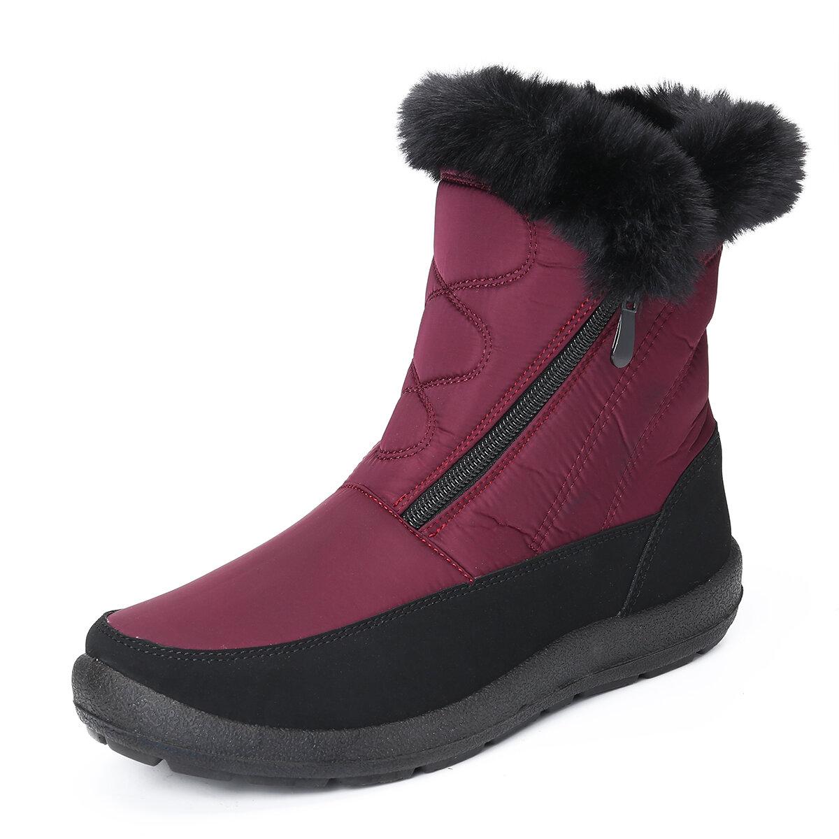 Large Size Women Warm Plush Lined Waterproof Snow Boots
