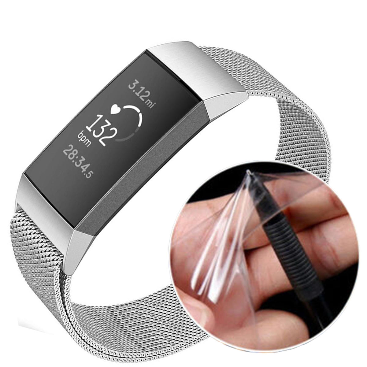 Tempered Glass Full Edge Cover TPU Watch Screen Protector for Fitbit Charge 3 Smart Watch фото