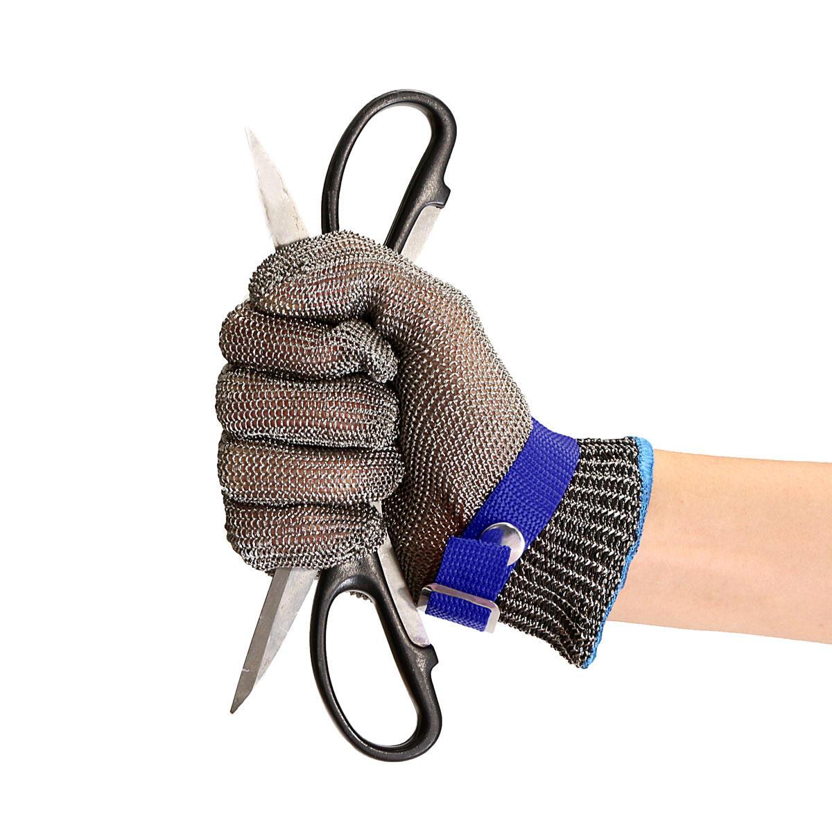 Cắt an toàn bằng chứng đâm thép không gỉ kim loại lưới thép butcher Găng tay màu xanh