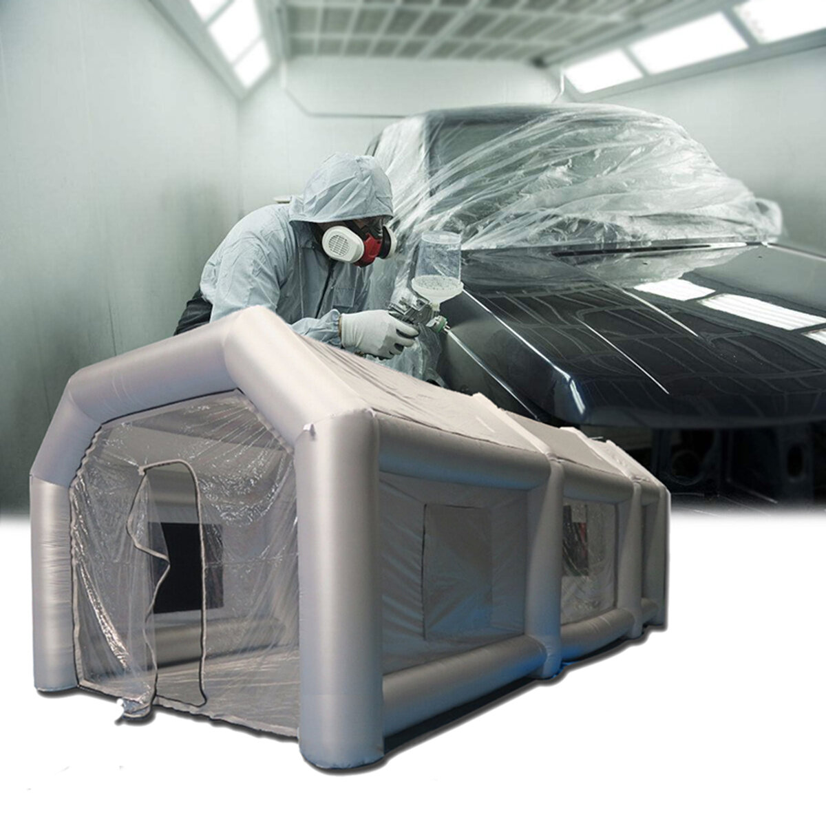 8x4x3 M Inflatable Giant Car Workstation Spray Paint Tent Coat Paint Booth Custom