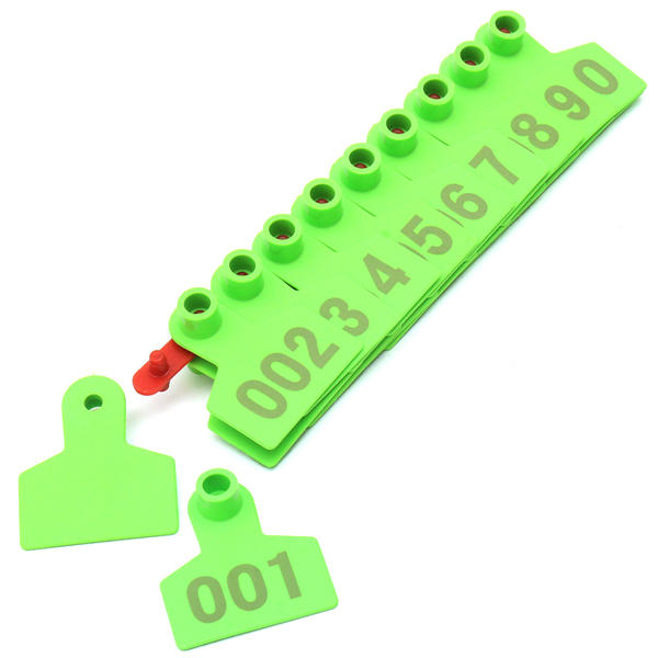 Green Plastic 1-100 Number Animal Livestock Ear Tag Set