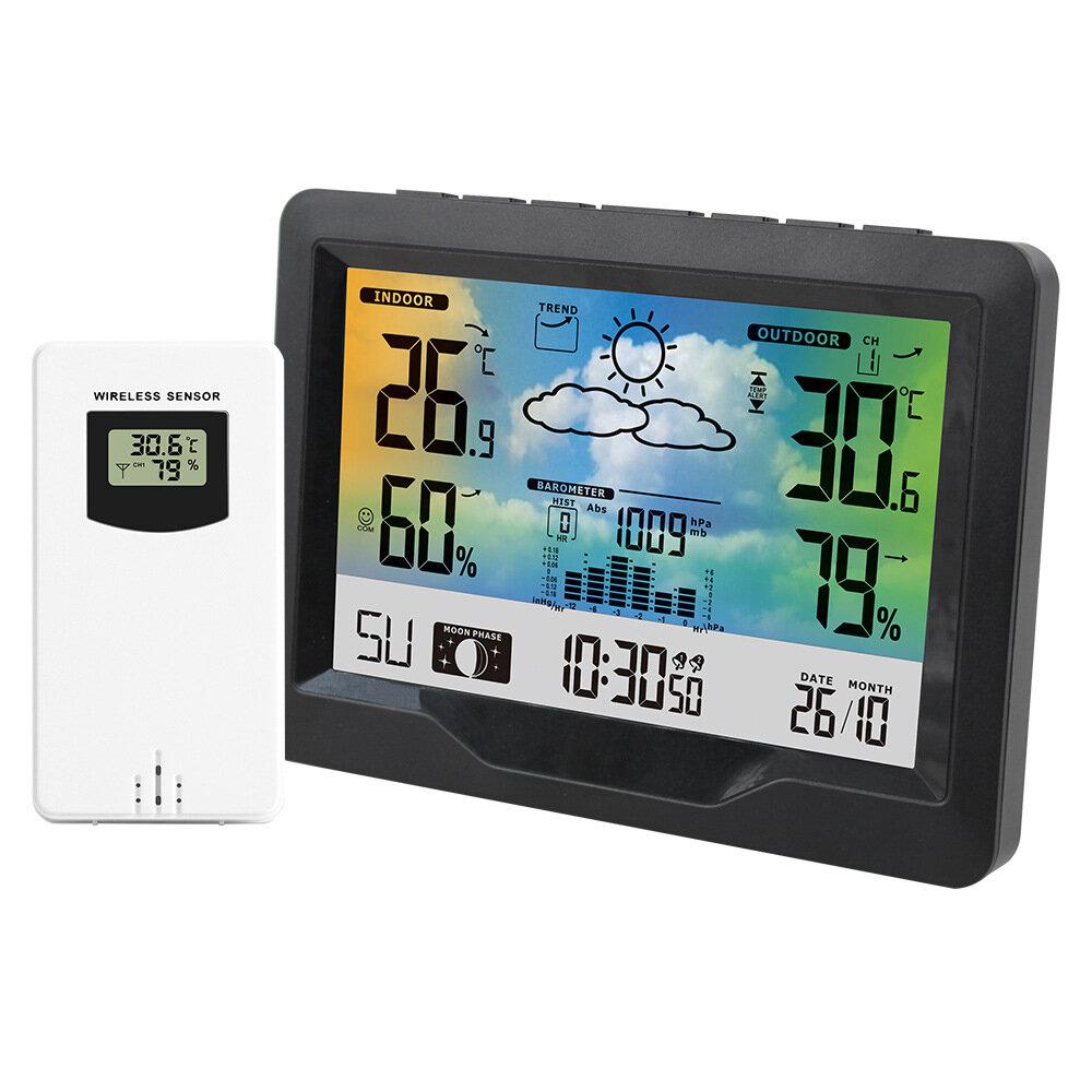 FanJu Indoor Outdoor Wireless Weather Station Thermometer Hygrometer Forecast Air Pressure Time Display Digital Watch Alarm Clock Wireless Sensor Barometer