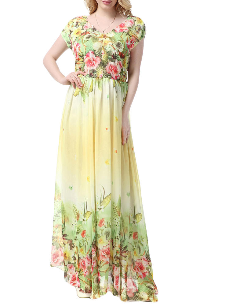 Plus Size Bohemian Floral Printed V-Neck Backless Chiffon Maxi Dress