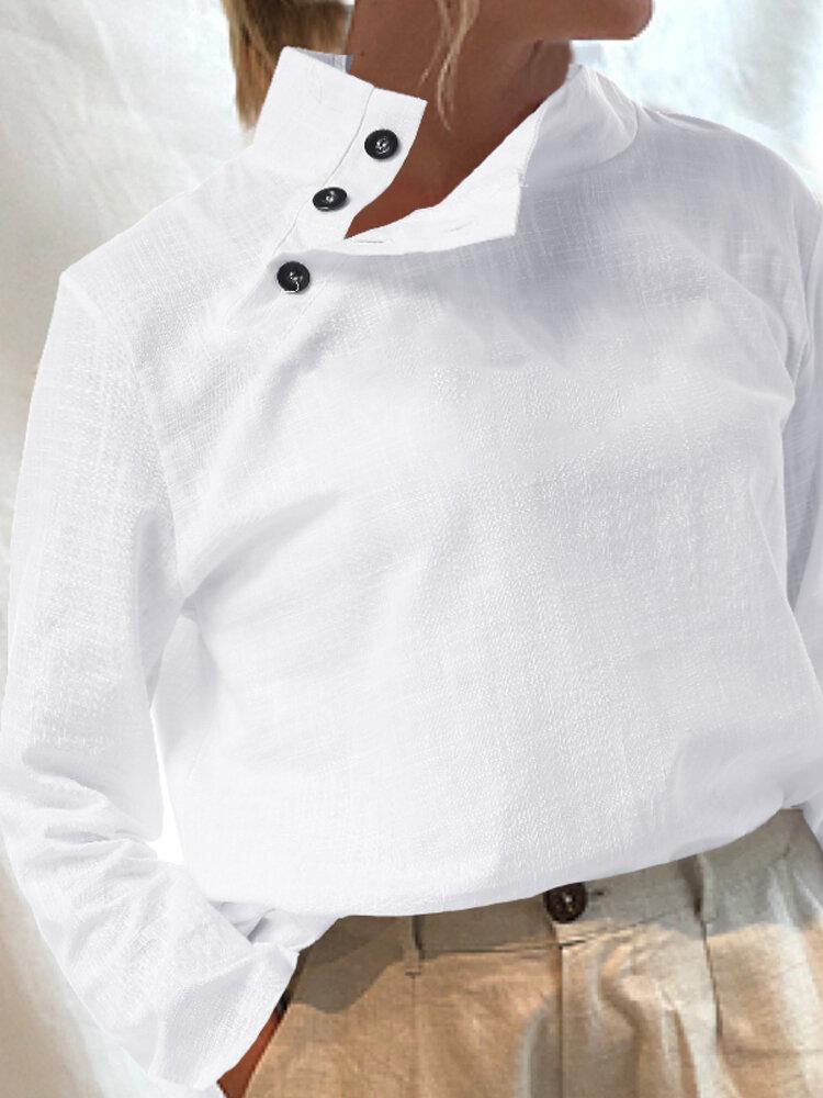 Сплошной цвет отворот пуговица с длинным рукавом повседневная блузка для Женское