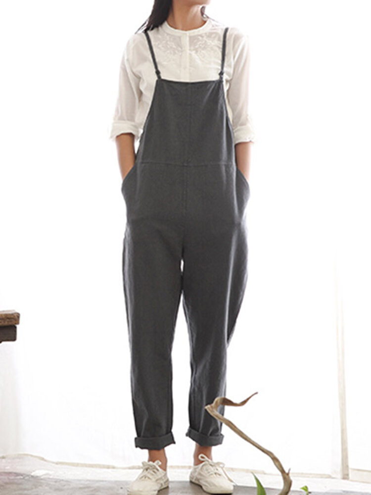 Casual Women Pure Color Side Button Strap Cotton Overalls
