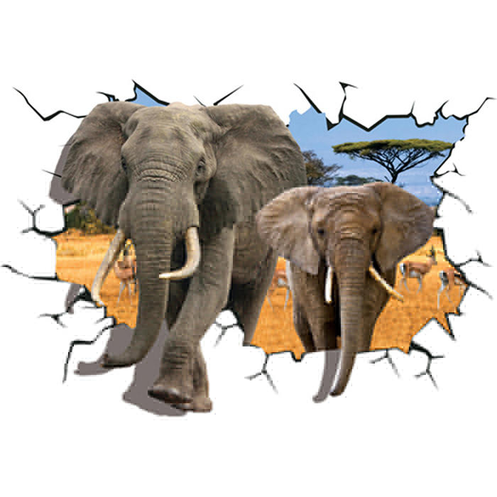 Creative 3D African Animal Elephants PVC Broken Wall Sticker DIY Removable Decor Waterproof Wall Stickers Household Home фото