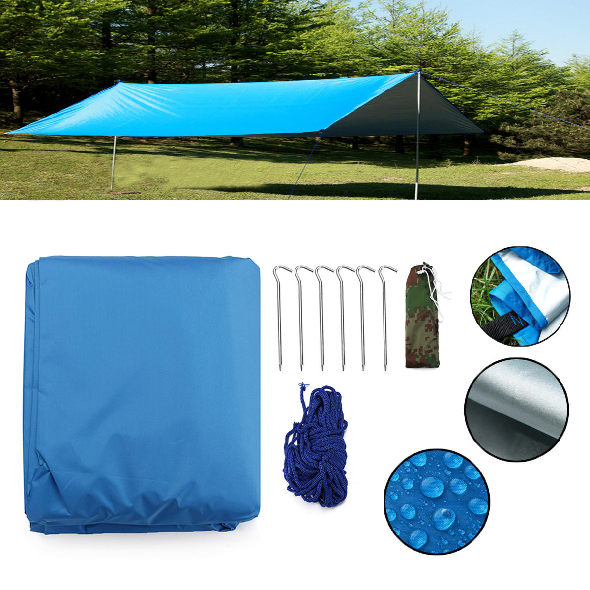 sports shoes c1088 fbc22 Outdoor Camping Waterproof Tarp Sunshade Awning Canopy Beach Tent Cover Sun  Shelter