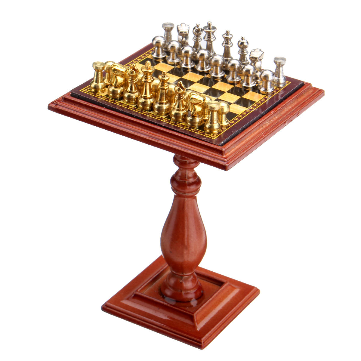 Miniature Chess Set and Table Magnet Chess Pieces 1:12 Dollhouse  Accessories Parts For Doll House