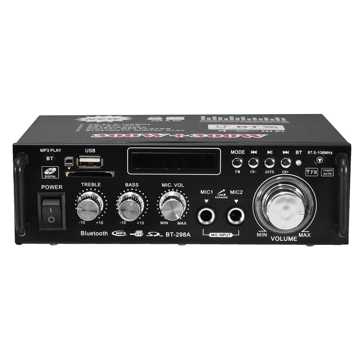 BT-298A 12 V 220 V HIFI Ses Stereo Güç Amplifikatör Bluetooth FM Radyo 2CH 600 W