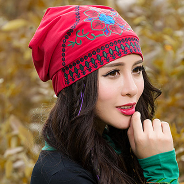 96e652153 Women Ethnic Embroidery Cotton Beanie Hat Vintage Flower Pattern Elastic  Adjustable Caps