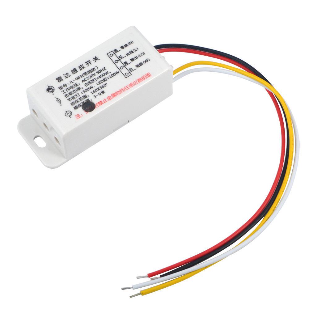 AC220V Encendido automático Apagado Radar de microondas Retraso del cuerpo Sensor Interruptor para luz LED