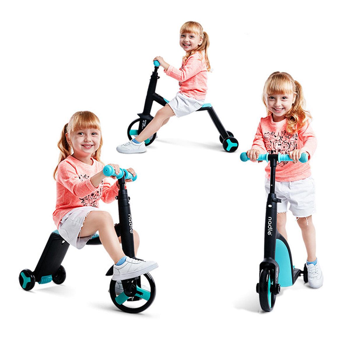 NADLE 3 في 1 دراجة توازن للأطفال بارتفاع قابل للتعديل للأعمار من 1-5 سكوتر أطفال دراجة ثلاثية العجلات للأطفال الصغار الر