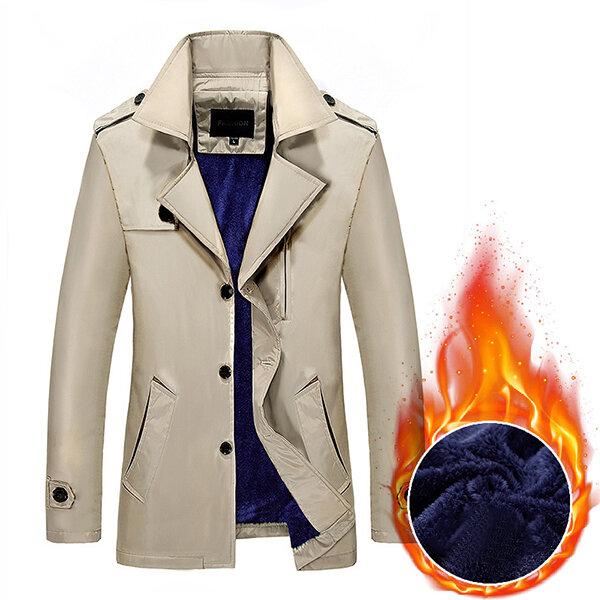 शीतकालीन मोटी मखमली टर्न-डाउन ट्रेंच कोट आरामदायक फैशन पुरुषों सिंगल ब्रेस्टेड ओवरकोट विंडब्र