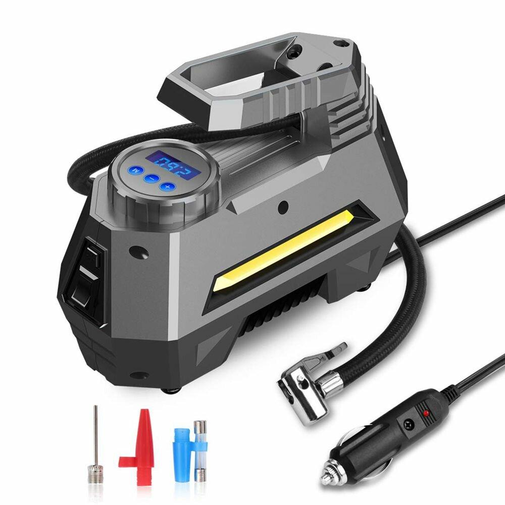 Compresor de aire portátil Inflador Bomba de presión de neumáticos Monitoreo LCD Digital Dispaly 12V para Coche Camión Bicicleta RV