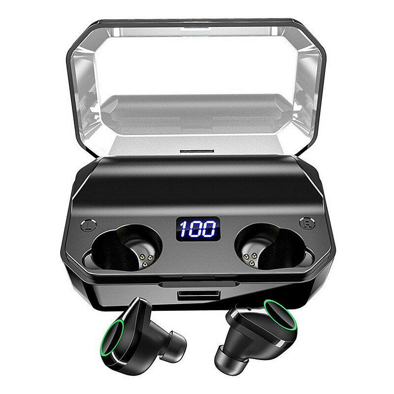 [True Wirsless] T9 Digital Display Earbuds Binaural Call bluetooth 5.0 Waterproof Earphone Stereo Bass Headset With 7000mAh Power Bank