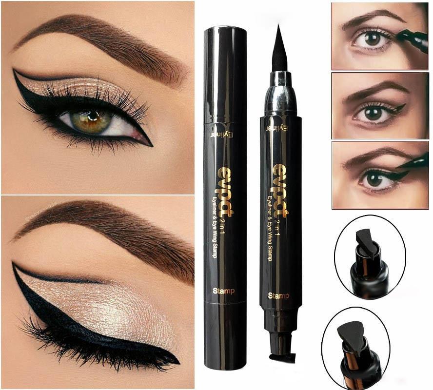 56649603cc61 2 in 1 Black Liquid Eyeliner Wing Seal Stamp Pencil Quick Dry Waterproof  Makeup