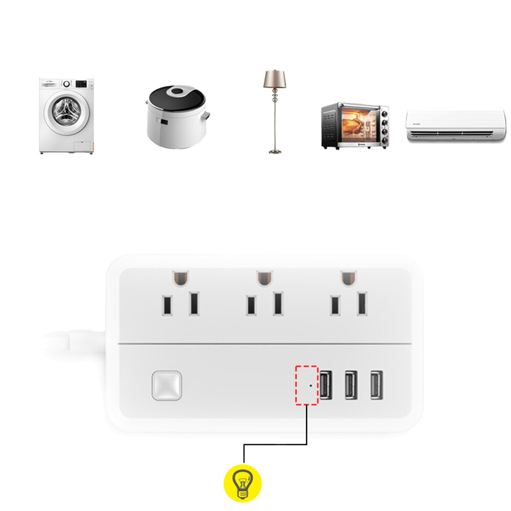 DHEKINGD D222 US Plug Sockets with 3 Outlet 3 USB Sockets Overload Switch Surge ProtectorWith Extension Cable Switch Power Outlet