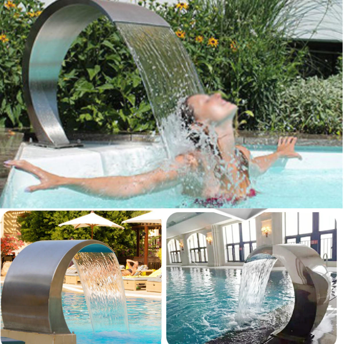 Garden With Swimming Pool stainless steel pool fountain swimming pool garden water feature waterfall  decorative hardware