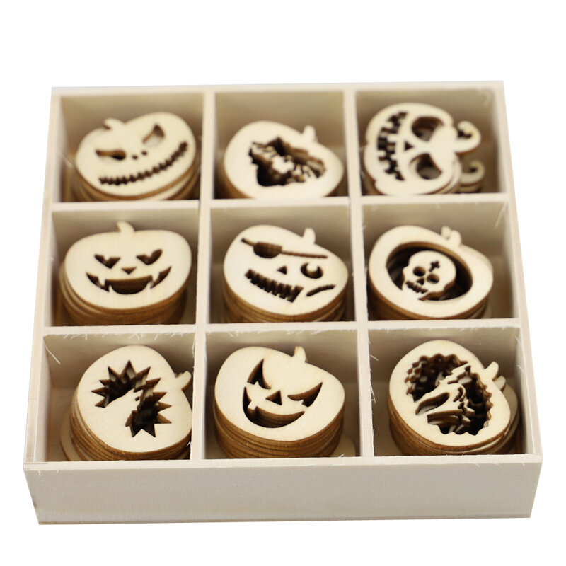 Wooden Halloween Pumpkin Man Jiugongge Ghost Festival Party Gift Props Home Decoration