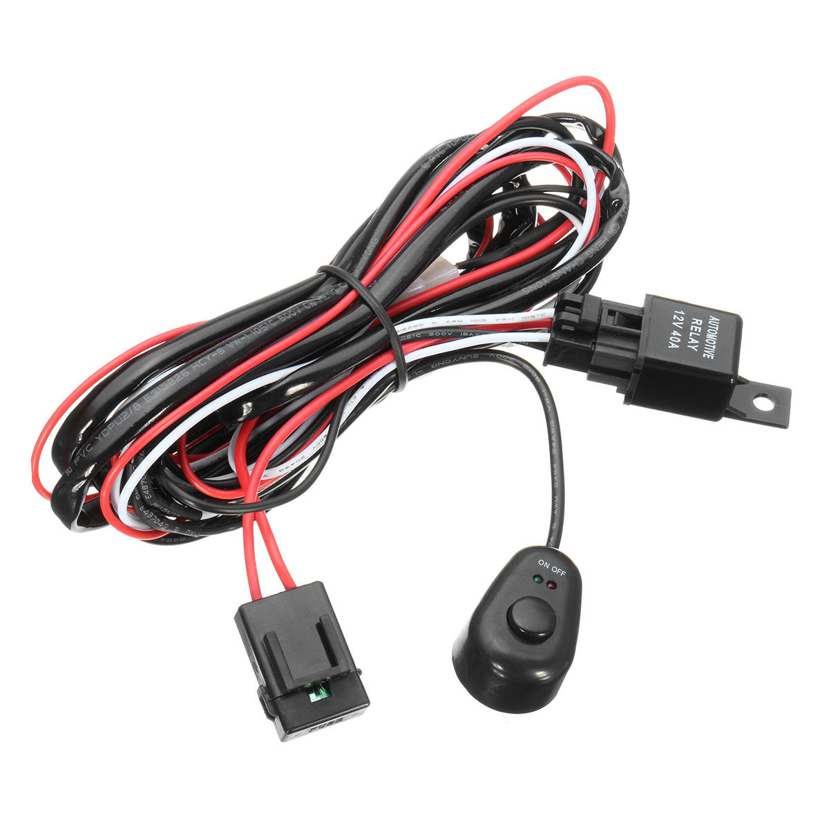 wiring harness kit with relay on-off control switch 12v 40a 2m for led drl  daytime running light bar cod