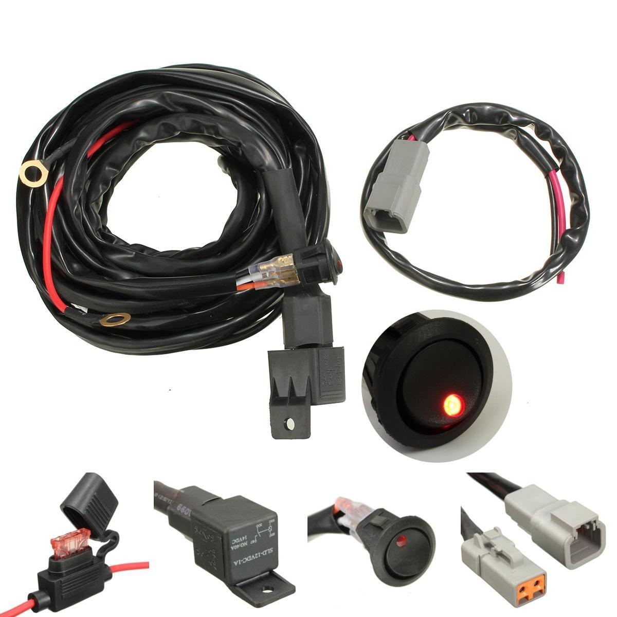 40A Relay 300cm Wiring Harness Kit ON OFF Switch For LED Spot Lightts on fuel line kit, transmission kit, timing belt kit, hose kit, wiring connector kit, coil kit, air bag kit, wiring tools kit, strat wiring kit, oil cooler kit, fan kit, exhaust kit, bumper kit, wiring thermostat, wiring light kit, car wiring kit, timing chain kit, headlights kit,