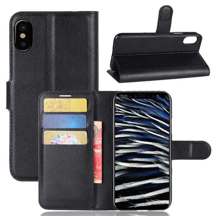 Litchi Texture Card Slot Bracket Flip Lærveske Til iPhone X